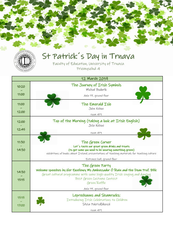 St  Patrick's Day in Trnava | The Department of English